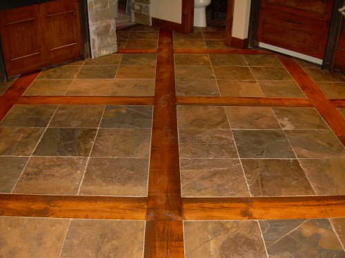 Flooring Sacramento Slate Inlay Outstanding Vaulted Ceiling Lighting With Wood Cabinets The